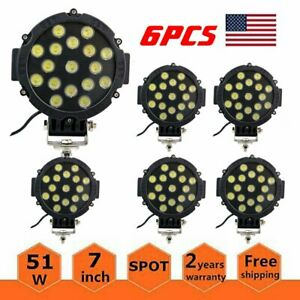 6pcs 7inch 51w Led Work Lights Offroad Bumper Fog Pods Round Tractor Atv 4wd Suv