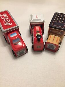Coca-Cola Collectible 2 Tin Delivery Truck & 1 Tin Train Engine Car Lunch Boxes