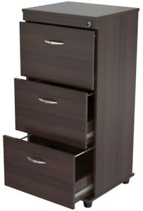 Espresso Wengue Filing Cabinet Home Office Furniture Locking Vertical Brown