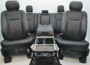 Ford F250 F350 Superduty Crew Front Rear Black Leather Power Heated Cooled Seats