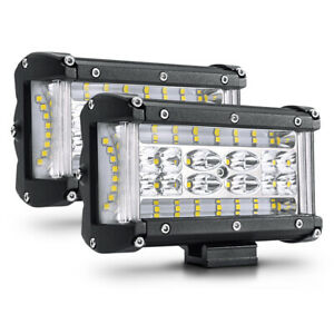 Pair 5 Led Light Bar Front Fog Driving Lamp 6600lm For 4x4 Truck Atv Suv Jeep