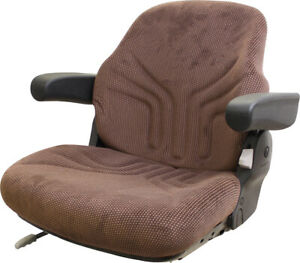 Amss10027 Seat Assembly Brown Matrix Fabric For John Deere 4030 4040 Tractors