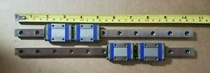 Lot Of 2 Nsk Pu12 10 5 8 269 8 Mm Linear Slide Rail Guide With Two Sliding Block