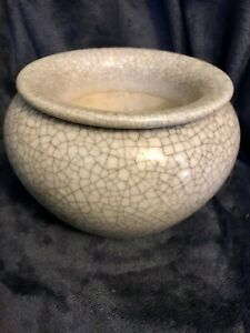 Chinese Porcelain Crackle Glaze 2 Piece Brush Pot Washer