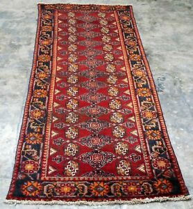 Vintage Persian Area Rug 3 3 X9 2 Mouri Bukhara Hand Knotted 100 Wool Carpet