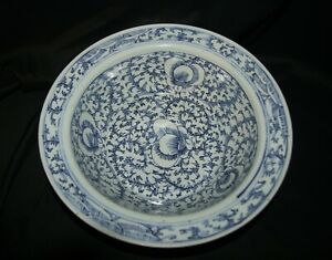 Large Antique Blue And White Chinese Bowl With Bat Floral Motif