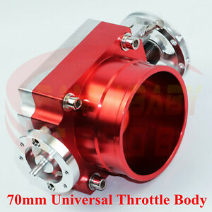 Universal 70mm High Flow 2 75 Alloy Aluminum Throttle Body Intake Manifold Red