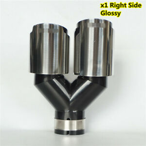 Car Right Side 63mm In 89mm Out Glossy Chrome Exhaust Dual Pipe Tail Muffler Tip