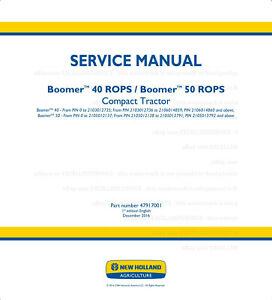 New Holland Boomer 40 Rops 50 Rops Compact Tractor Service Manual Printed