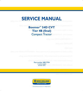 New Holland Boomer 54d Cvt Tier4b Final Compact Tractor Service Manual Printed