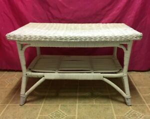 Antique Vintage Rattan Wicker Coffee Accent End Side Table W Shelf Nice