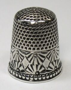 Antique Ketcham Mcdougall Sterling Silver Thimble Diamond In Palmettes C1880s