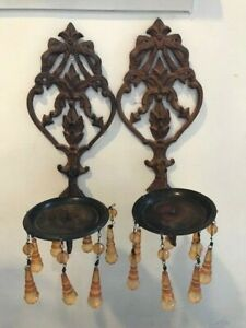 Pair Of Vintage Wall Sconces With Amber Crystals