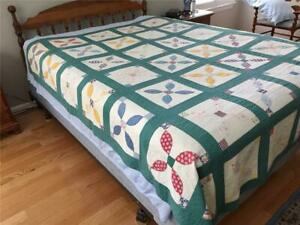 Dated 1938 Hand Stitched Summer Quilt Variation On Orange Peel 88 By 77