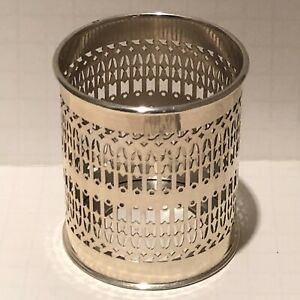 Vintage Bernard Rice S Sons Apollo Reticulated Sterling Silver Bottle Coaster