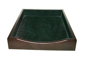 Dacasso Walnut Leather Front load Letter Tray A8401