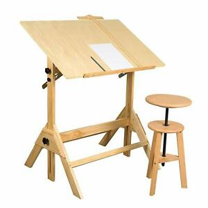 New Studio Design 36 Inch Wood Drafting Table With Drafting Stool Adjustable