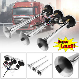 12v 24v 178db Super Loud Triple Trumpet Air Horn Horns Car Truck Train Boat