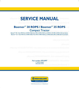 New Holland Boomer 30 Rops 35 Rops Compact Tractor Service Manual Printed