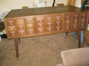 Vintage 54 Drawer Library Card Catalog Cabinet Industrial Architectural 2 Sided