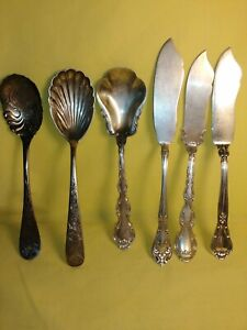 Estate Antique Sterling Silver Lot Butter Knives Sugar Spoons Scrap Or Use 198g