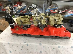 1958 Chevrolet 348 True Tripower Intake And Carbs