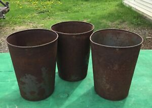 3 Very Old Tin Rusty Sap Buckets Pails Planters Flowers L K Great Decor