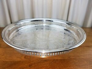 Sheffield Usa Silver Round Gallery Cocktail Serving Tray Serving Platter 13 W