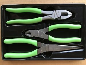 Snap On Tools 3pc Pliers Cutters Set Green W Tray Plr300g