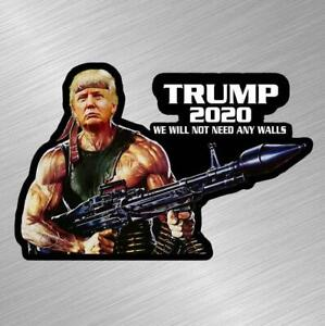 Trump Rambo Wall 2020 Vinyl Decal Sticker Maga Republican Gun Funny Daca Donald
