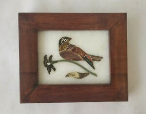 Handmade Colorful Bird Inlayed On Marble Pietra Dura Plaque Micro Mosaic 08