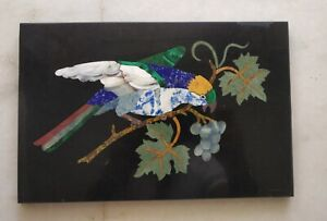 Handmade Colorful Parrot Bird Inlayed On Marble Pietra Dura Plaque Micro Mosaic