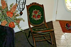 Rare Antique Vintage Victorian Wood Folding Carpet Rocking Chair Tapestry Nice