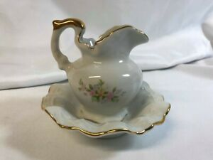 Miniature Pitcher And Basin Bowl With Pink Yellow Daisies Painted Gold Trim
