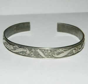 Chinese Export Silver Bracelet Engraved Design Heavy Tarnish Small