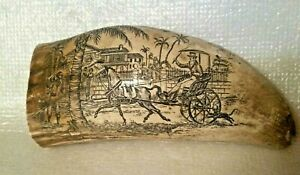 Vintage Faux Scrimshaw Plantation Shipping Scenes 5 Inch Whale Walrus Tooth