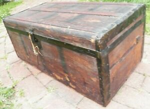 1900 Antique Trunk Chest Wedding Dress Storage Fathers Note Wood Slats Pine Box