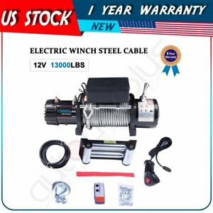 13000lbs Electric Winch Recovery Towing 12v Steel Cable Truck Tailer Suv 12000lb