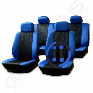 13 Pieces Black Blue New Protector Embossed Cloth Car auto Seat Covers For Dodge