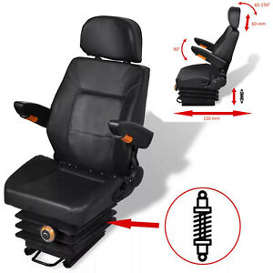 Tractor Seat With Suspension For Forklift Replacement Relaxer Chair Black
