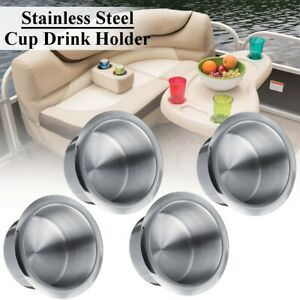 4x Chrome Silver Stainless Steel Cup Drink Holder Polished Marine Boat Car Truck
