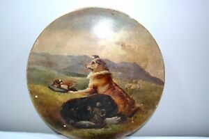 Victorian Painted Porcelain Dog 12 Charger Plate