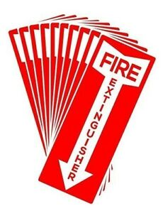 Fire Extinguisher Sign 11 X 4 25 Durable Self adhesive Decal Sticker 10 pcs