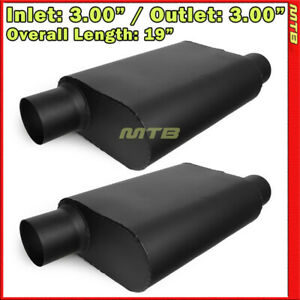 High Flow Two Chamber Muffler 3 Inches Offset In out Black Pair 212251