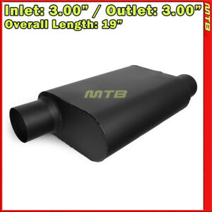 Performance High Flow Two Chamber Muffler 3 Inches Offset In Out Black 212386