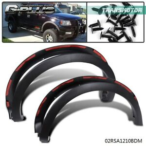 For 04 08 Ford F150 Styleside Factory Style Wheel Covers Fender Flares Black