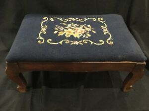 Vintage Floral Needle Point Wooden Foot Stool B1