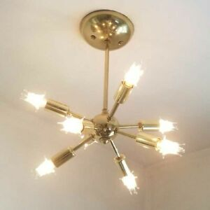 656b Vintage Mid Century Ceiling Light Lamp Fixture Glass Bath Hall Porch Eames