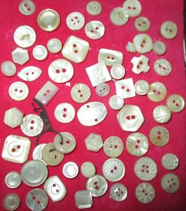 Lot 60 Antique Mother Of Pearl Mop Buttons Nicely Carved Mostly Diminutive