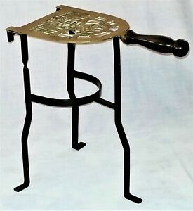 Repro Fireplace Trivet Kettle Stand Brass Iron 14 T